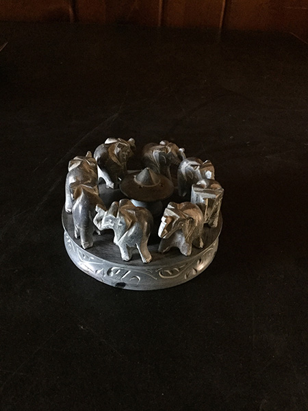 Soapstone incense burner with elephants circling