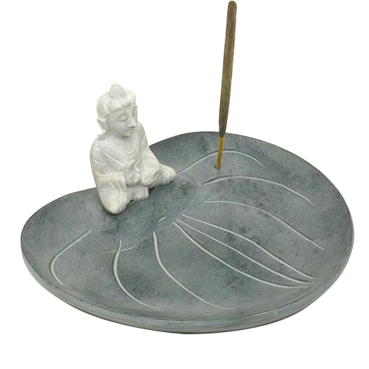 Soapstone Incense burner with Buddha on a Lotus leaf